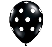 28cm Black & White Polka Dot Latex Balloon - Set of 6