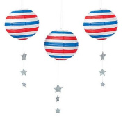Patriotic Paper Lantern - 30cm - Set of 3