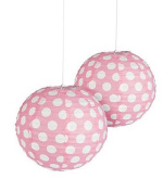 Light Pink Polka Dot Paper Lantern - 30cm - Set of 2