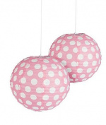 Light Pink Polka Dot Paper Lantern - 30cm - Set of 2