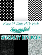 BLACK & WHITE HTV SPECIAL PACK #1 Chevron Pattern, Polka Dot, Colour and Glitterflex HTV for T-Shirts!