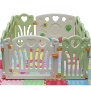 Kiddygem Angel Wings and Hearts Baby 10 Panels Playpen, Green