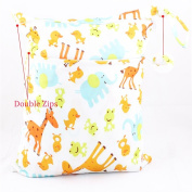 Lexitek Baby Protable Waterproof Nappy Reusable Washable Wet Dry Cloth Zipper Nappy Bag Cute Travel Baby Wet and Dry Cloth Nappy Organiser Bag