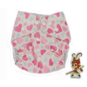 BABYBOO Baby Cloth Nappies Washable Adjustable Buckle Nappy Packing of 1,Colour Pink Heart