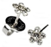 Silver April Crystal Daisey Ear Piercing Earrings Studex System 75