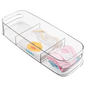 mDesign Baby & Nursery Divided Storage Bin, Clear