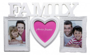 "Decorative White 3 Picture ""Family"" Wall Hanging Collage Photo Frame, White"