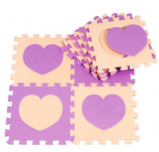 10PCS Simple Love Two Colour Puzzle Mat Children Crawling Mat Foam Mosaic Floor Mat r Mat Rug Set of 9