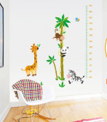 Kid's Animal Height Measure/Growth Chart Wall Stickers Children's Decal Favour for Christmas,Halloween (AY9180 Giraffe Monkey Panda