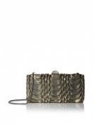 La Regale Women's Metallic Fabric Pleated Frame Minaudiere, Gold