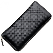 Qidell Ms.long Zip Braided Sheep-skin Clutch Wallet
