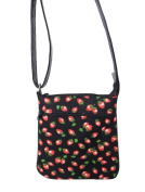 "US HANDMADE FASHION CROSS BODY ""STRAWBERRY"" PATTERN SHOULDER BAG WITH ADJUSTABLE HANDLES, COTTON, NEW, CSOP 4008"