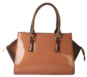 Rimen & Co. Shiny Patent PU Leather Multi Spaced Structured Tote Womens Shoulder Handbag SP-2825