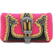 Justin West Hot Pink Embroidery Floral Rose Stud Buckle Wristlet Trifold Wallet Attachable Long Strap