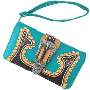 Justin West Turquoise Embroidery Floral Rose Stud Buckle Wristlet Trifold Wallet Attachable Long Strap