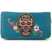 Justin West Fashion Mulitcolor Embroidered Floral Sugar Skull Women Purse Shoulder Handbag Flat Wallet