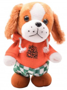 Happy Cherry Electric Leash Dog Plush Teddy Toy Music Robot Dog Remote Children's Toys Electronic Pet Dog Walking Parrot Recording with Green Clothes with Orange Clothes - Yellow Ears
