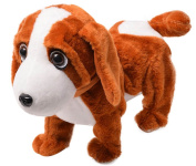 Happy Cherry Electric Leash Dog Plush Toy Dog Music Robot Dog Remote Children's Toys Electronic Pet Dog Walking Twisted Ass - Dark Brown