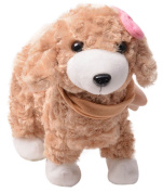 Happy Cherry Electric Leash Dog Plush Toy Dog Music Robot Dog Remote Children's Toys Electronic Pet Dog Walking Twisted Ass With Bow Tie - Brown