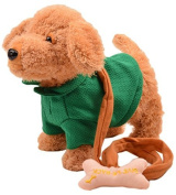 Happy Cherry Electric Leash Dog Plush Toy Dog Music Robot Dog Remote Children's Toys Electronic Pet Dog Walking Twisted Ass with Green Clothes