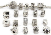 Yeshan 16pcs Antique Silver Clip Lock Stopper Bead Bracelet Charms with 16pcs Rubber Stopper O-rings Free