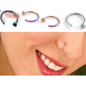 HuntGold 5 Pcs Unisex Nose Open Hoop Ring Earring Stainless Steel Nose Stud Nose Ring