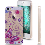 iPhone 5S Case, NSSTAR iPhone 5 Case, [Perfect Fit] Soft TPU Crystal Clear [Scratch Resistant] Purple Butterfly Flower Floral Vine Back Case Cover for Apple iPhone 5S iPhone 5 5G