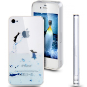 iPhone 5S Case, NSSTAR iPhone 5 Case, [Perfect Fit] Soft TPU Crystal Clear [Scratch Resistant] Ocean Park Playing Water Swimming Penguin Back Case Cover for Apple iPhone 5S iPhone 5 5G
