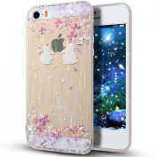 For iPhone 5S/5,iPhone 5S Case,iPhone 5 Case,iPhone 5S TPU Case,NSSTAR Pink Cherry Blossom Rabbit Inside Glitter Diamond Rainbow Colour Clear TPU Soft Silicone Design Case Cover for iPhone 5S/5,A14