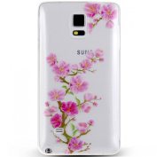 Note 4 Case, NSSTAR Galaxy Note 4 Case, [Perfect Fit] Soft TPU Crystal Clear [Scratch Resistant] Pink Flower Floral Plum Blossom Back Case Cover for Samsung Galaxy Note 4