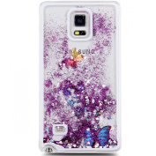 Galaxy Note 4 Case, NSSTAR Galaxy Note 4 [Liquid Bling] Case,Creative Design Flowing Liquid Floating Luxury Bling Glitter Sparkle Butterfly Hard Case for Samsung Galaxy Note 4
