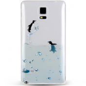 Note 4 Case, NSSTAR Galaxy Note 4 Case, [Perfect Fit] Soft TPU Crystal Clear [Scratch Resistant] Ocean Park Playing Water Swimming Penguin Back Case Cover for Samsung Galaxy Note 4