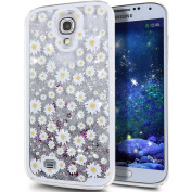 Galaxy S4 Case, NSSTAR Galaxy S4 [Liquid Bling] Case, Creative Design [Flowing Liquid] Floating Luxury Bling Glitter Sparkle Stars Hard Case for Samsung Galaxy S4 SIV i9500,Silver Daisy Flower