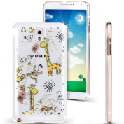 Note 3 Case, Galaxy Note 3 Case, NSSTAR [Perfect Fit] Soft TPU Crystal Clear [Scratch Resistant] White Lace Edge The Zoo Birds Monkey Giraffe Back Case Cover for Samsung Galaxy Note 3 N9000