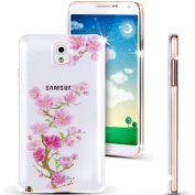 Note 3 Case, Galaxy Note 3 Case, NSSTAR [Perfect Fit] Soft TPU Crystal Clear [Scratch Resistant] Pink Flower Floral Plum Blossom Back Case Cover for Samsung Galaxy Note 3 N9000