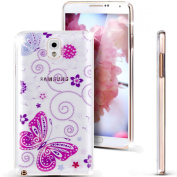 Note 3 Case, Galaxy Note 3 Case, NSSTAR [Perfect Fit] Soft TPU Crystal Clear [Scratch Resistant] Purple Butterfly Flower Floral Vine Back Case Cover for Samsung Galaxy Note 3 N9000