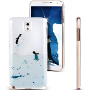 Note 3 Case, Galaxy Note 3 Case, NSSTAR [Perfect Fit] Soft TPU Crystal Clear [Scratch Resistant] Ocean Park Playing Water Swimming Penguin Back Case Cover for Samsung Galaxy Note 3 N9000