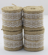 Set of 4 Natural Jute Burlap Rolls Ribbon with Lace 5.8cm Wide 2 Yards Long per Roll Wedding Decoration Multiple Colours : White, Blue, Green, Pink