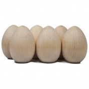 Wood Eggs 5.1cm - 1.3cm , Natural Unfinished Wooden Eggs (6.4cm Tall x 2.5cm - 1.9cm Wide) - Bag of 6