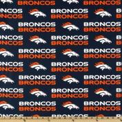 NFL Cotton Broadcloth Denver Broncos Orange/Blue Fabric
