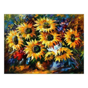 Custom Beautiful Modern Art Abstract Painting Sunflower Flower Canvas Print 41cm x 30cm Inch, Stretched and Framed Artwork Decor Wall Living room Office Art Abstract Sunflower Flower Oil Paintings Picture Canvas Print Home Decor