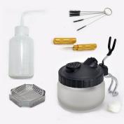 5 Sets Multi Purpose Airbrush Brush Holder Washing Cleaning Glass Pot Jar Oil Painting Brush Pen Washing Support Cleaning Brush Nozzle Repair Tools Plastic Bottle