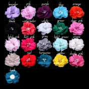 Pack of 20PCS Mixed Colours Flat-bottomed Beautiful DIY Handmade Decorative Chiffon Flowers with Pearl and Rhinestone for Hair Clips, Scrapbooking and More Decoration,Wedding Flowers