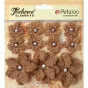 Petaloo Textured Elements Burlap Mini Flowers (11 Pack), 190cm - 3.8cm , Natural