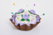 Beautiful handmade textile soft felt pin cushion Cake with Berries craft supply