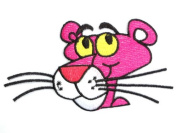 PINK PANTHER Face Iron On Sew On Cartoon Embroidered PatchApprox