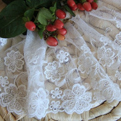 White 5 Yards Grace Floral Embroidered Mesh Lace Dress Edge Lace Trim Fabric Ribbon Wedding Bridal Veils Craft Hesd Ornaments 12cm Wide