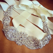 QueenDream light ivory Bridal Sash Crystals Wedding Belt