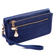 HDE Womens Soft Leather Wallet Multi-Function Zipper Clutch Wristlet
