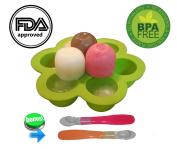 Gotrone Baby Silicone Food Freezer Storage Storage Tray Bpa Free Non Toxic + (Gift!!!) 2 Soft Baby Feeding Spoons